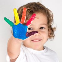 Boy painted hand